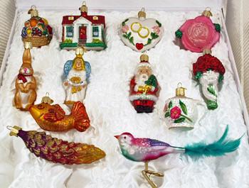 bridal tree ornaments 12 piece boxed set closer view