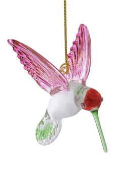 Feeding Hummingbird Mouth Blown Egyptian Glass Ornament Pink Wings