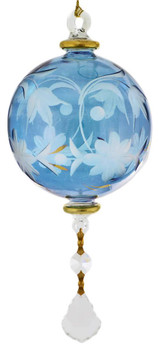 Floral Round with Crystal Drop Mouth-blown Egyptian Glass Ornament - Blue