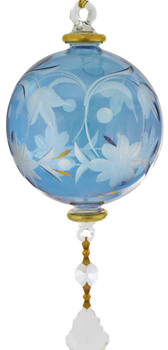 Floral Round with Crystal Drop Mouth-blown Egyptian Glass Ornament - Blue  larger view