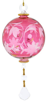 Floral Round with Crystal Drop Mouth-blown Egyptian Glass Ornament - Red