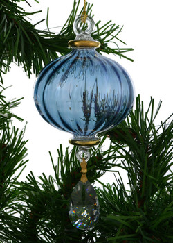 Melon Lines with Crystal Drop Mouth-blown Egyptian Glass Ornament - Blue garland