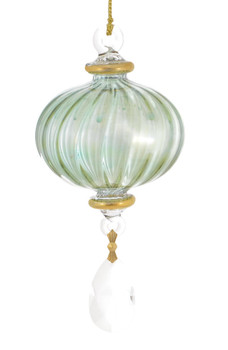 """Crystal Drop Melon Lines Mouth-blown Egyptian Glass Ornament - Green, 5 3/4"""", EM11936"""