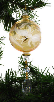 Frosted Round with Crystal Drop Mouth-blown Egyptian Glass Ornament - Yellow garland