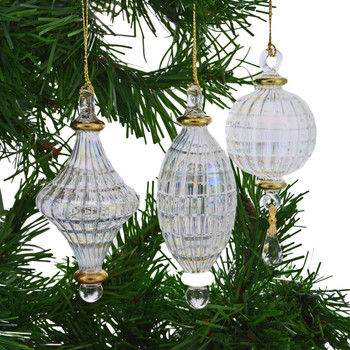Small 3 pc Clear Iridescent Mouth-blown Egyptian Glass Ornaments Set garland background