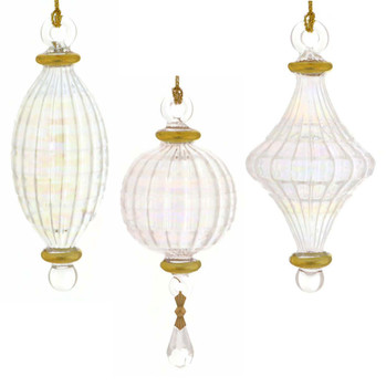 Small 3 pc Clear Iridescent Mouth-blown Egyptian Glass Ornaments Set white backround