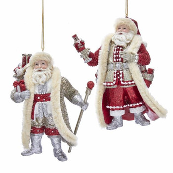 "Ruby Red Santa Ornament, 4 7/8"", KAE0342"