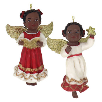 Ruby Red African American Angel Girl Ornament
