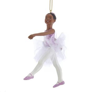 "African American Young Girl Ballerina Ornament, 4 1/2"", KAE0352"