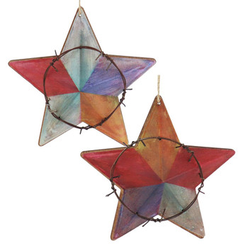 Colorful Metal Western Star Ornament