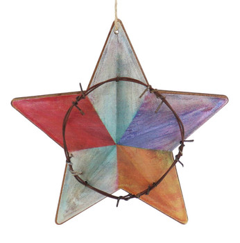 Colorful Metal Western Star Ornament green top front