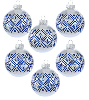 """Blue on Silver Round Glass Ornaments 6 pc Set, 3 1/8"""", KAGG0884"""