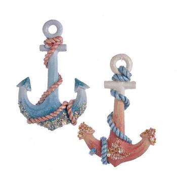 """Coral Tones Anchor Ornament, 4 7/8"""", KAJ7396"""