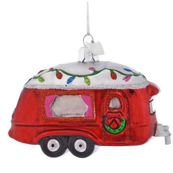 Decorated Red Camper Glass Ornament
