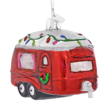 Decorated Red Camper Glass Ornament right side front