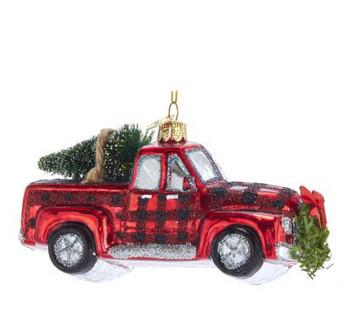 """Plaid Farm Truck Glass Ornament, 2 1/2 x 5 1/4"""", KANB1410-truck"""