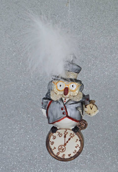 Pocket Watch Owl Glass Ornament front grey background