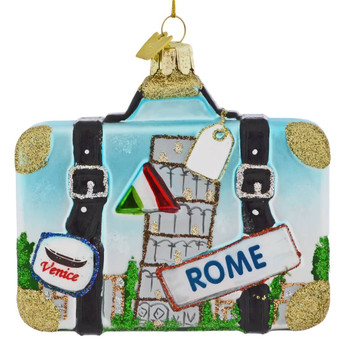 Europe Travel Rome Suitcase Glass Ornament