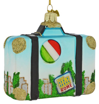 Europe Travel Rome Suitcase Glass Ornament back