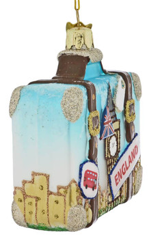 Europe Travel England Suitcase Glass Ornament tight side
