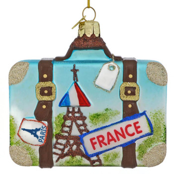 Europe Travel France Suitcase Glass Ornament front