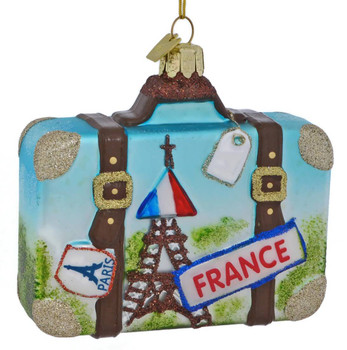 Europe Travel France Suitcase Glass Ornament