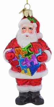 Autism Awareness Heart Santa Ornament