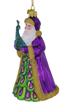 Santa and Peacock Glass Ornament left side