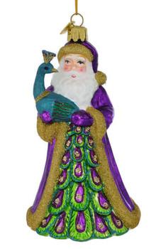 Santa and Peacock Glass Ornament