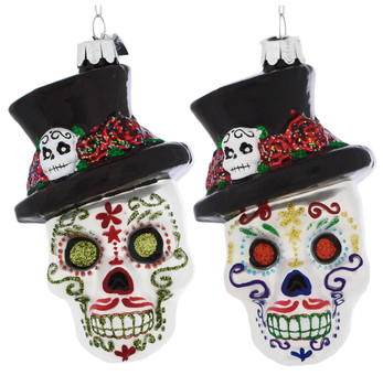 Top Hat Decorated Skull Glass Ornament