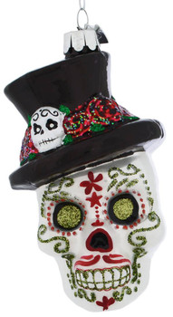 Top Hat Decorated Skull Glass Ornament green eyes front