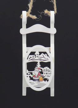 Laser Design Winter White Wooden Sled Ornament Santa