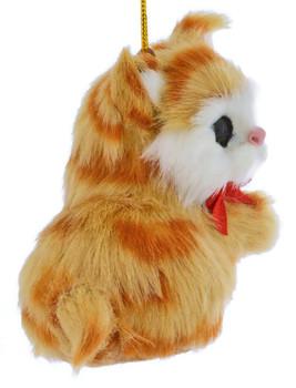 Orange Plush Kitten Ornament right side