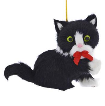 Black White Plush Kitten Ornament