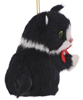 Black White Plush Kitten Ornament right