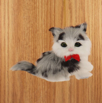 Grey and Black Plush Kitten Ornament Wood Background Front