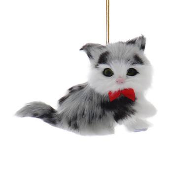 Grey and Black Plush Kitten Ornament
