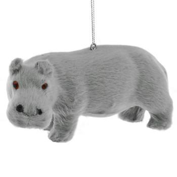 Furry Safari Animal - Hippo Ornament front left side