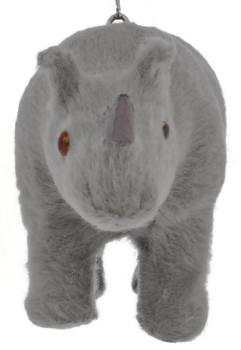 Furry Safari Animal - Rhino Ornament front