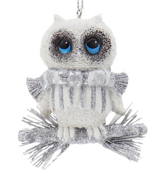 Whimsical White Silver Owl Ornament