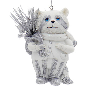 Winter White Silver Raccoon Ornament