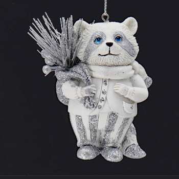 Winter White Silver Raccoon Ornament Front