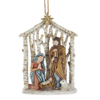 "Birch Holy Family Nativity Ornament, 4 3/8"", KAE0290"