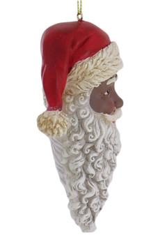 African American Santa Head Ornament right side
