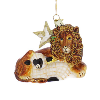 Lion and Lamb with Dove Glass Ornament