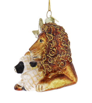 Lion and Lamb with Dove Glass Ornament left side