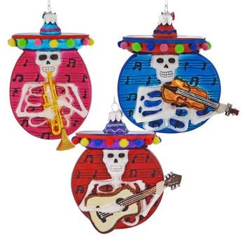 Mariachi Skeleton Disk Glass Ornament
