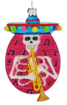 Mariachi Skeleton Disk Glass Ornament trumpet front