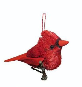 "Buri Bristle Bird on a Branch Cardinal Ornament, 4"", JWKA12393"