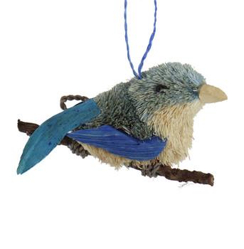 Buri Bristle Bird on a Branch Bluebird Ornament